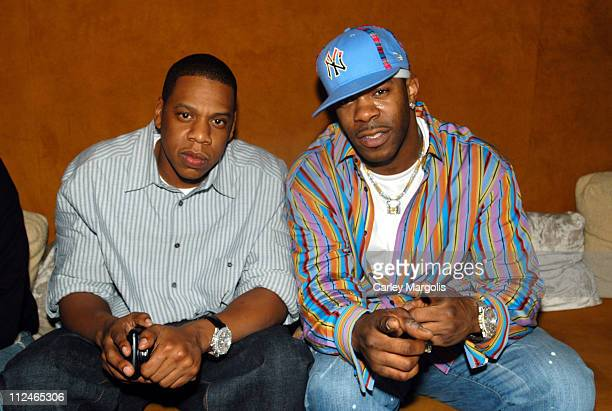 JayZ and Busta Rhymes during Naomi Campbell Cohosts Sky Wednesdays at The 40/40 Club February 9 2005 at The 40/40 Club in New York City New York...