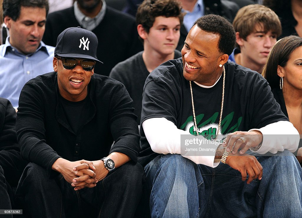 <a gi-track='captionPersonalityLinkClicked' href=/galleries/search?phrase=Jay-Z&family=editorial&specificpeople=201664 ng-click='$event.stopPropagation()'>Jay-Z</a> and CC Sabathia attend the Cleveland Cavaliers Vs. New York Knicks at Madison Square Garden on November 6, 2009 in New York City.