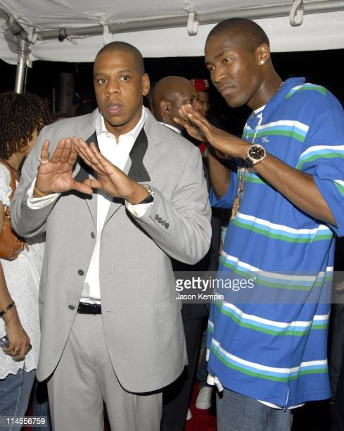 JayZ and Jamal Crawford during JayZ's Concert at Radio City Music Hall Afterparty Arrivals June 25 2006 at The Rainbow Room in New York City New York...