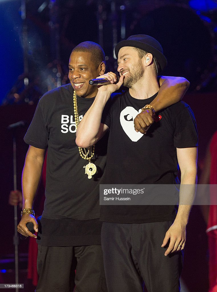<a gi-track='captionPersonalityLinkClicked' href=/galleries/search?phrase=Jay-Z&family=editorial&specificpeople=201664 ng-click='$event.stopPropagation()'>Jay-Z</a> and <a gi-track='captionPersonalityLinkClicked' href=/galleries/search?phrase=Justin+Timberlake&family=editorial&specificpeople=157482 ng-click='$event.stopPropagation()'>Justin Timberlake</a> perform on the main stage on day 3 of the Yahoo! Wireless Festival at Queen Elizabeth Olympic Park on July 14, 2013 in London, England.