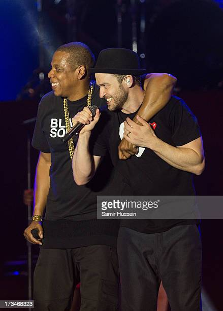 JayZ and Justin Timberlake perform on the main stage on day 3 of the Yahoo Wireless Festival at Queen Elizabeth Olympic Park on July 14 2013 in...