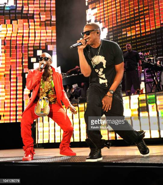 JayZ and Kanye West perform at Yankee Stadium on September 15 2010 in New York City
