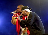 JayZ and Memphis Bleek during JayZ's 'Best Of Both Worlds' New York Performance November 1 2004 at Madison Square Garden in New York City New York...