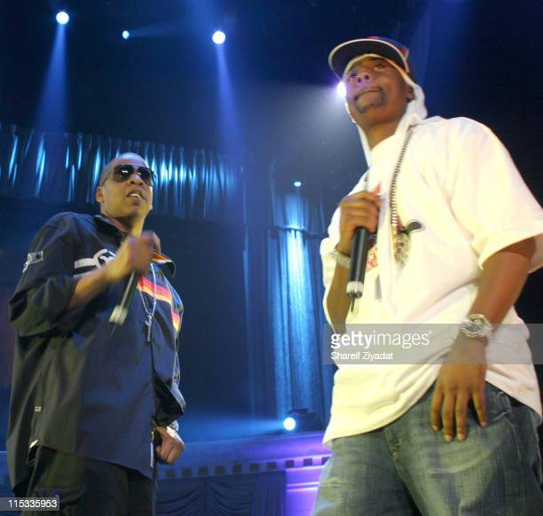 JayZ and Memphis Bleek during Power 1051 FM Presents JayZ 'I Declare War' Concert October 27 2005 at Convention Center in New York City New York...