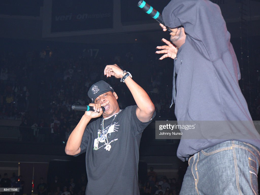 Jay-Z and Memphis Bleek perform during the 2008 Powerhouse concert at IZOD Center on October 28, 2008 in East Rutherford, New Jersey.