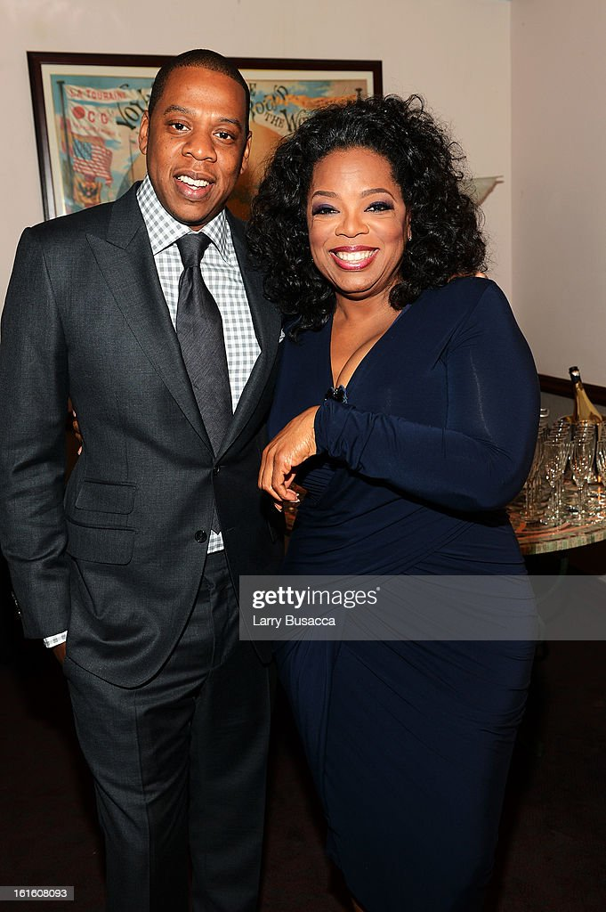 Jay-Z and Oprah Winfrey attend the HBO Documentary Film 'Beyonce: Life Is But A Dream' New York Premiere at the Ziegfeld Theater on February 12, 2013 in New York City.