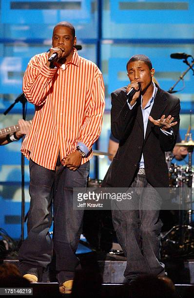 JayZ and Pharrell Williams performs during Spike TV Presents 2003 GQ Men of the Year Awards Show at The Regent Wall Street in New York City New York...