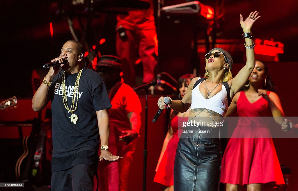 Jay-Z and Rihanna perform on the main stage on day 3 of the Yahoo! Wireless Festival at Queen Elizabeth Olympic Park on July 14, 2013 in London, England.