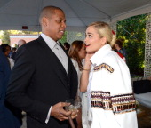 JayZ and Rita Ora attend the Roc Nation PreGRAMMY Brunch presented by MAC Viva Glam at Private Residence on January 25 2014 in Beverly Hills...