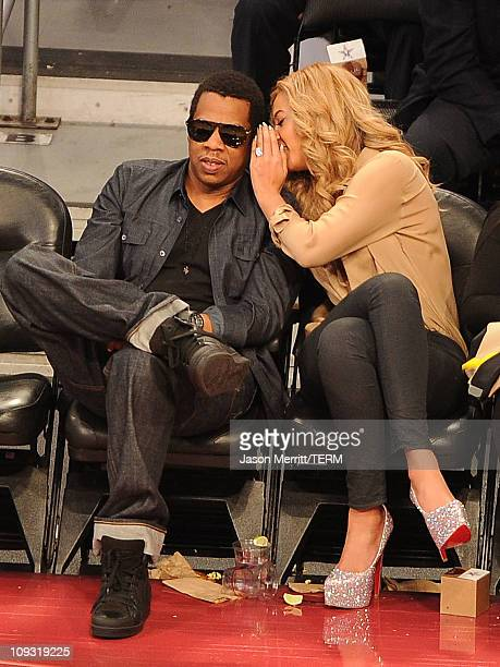 JayZ and singer Beyonce Knowles during the 2011 NBA AllStar game at Staples Center on February 20 2011 in Los Angeles California NOTE TO USER User...