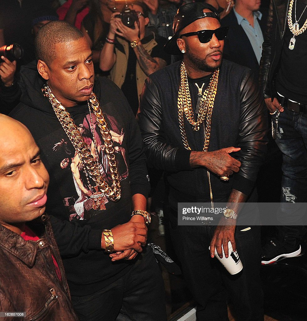 Jay-Z and Young Jeezy attend the So So Def anniversary party hosted by Jay Z at Compound on February 23, 2013 in Atlanta, Georgia.