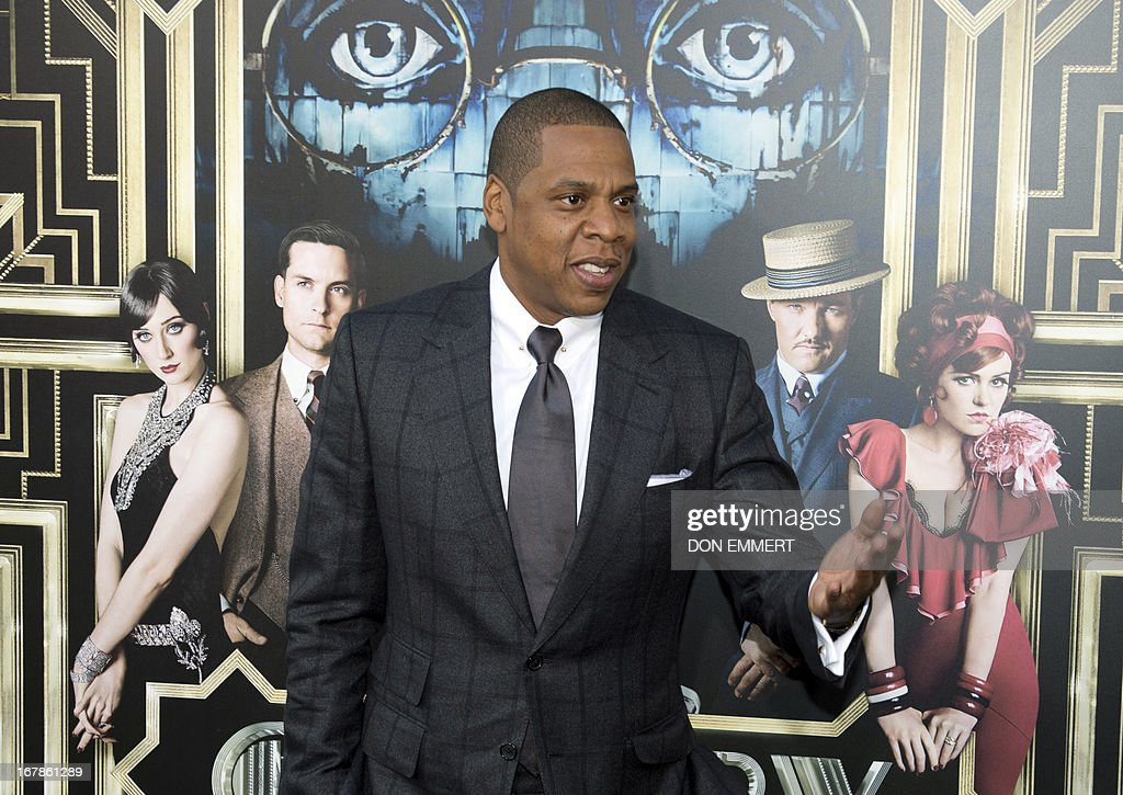 Jay-Z arrives at the World Premier of The Great Gatsby May 1, 2013 at Avery Fisher Hall at Lincoln Center New York. Leonardo DiCaprio stars in the title role. AFP PHOTO/Don Emmert