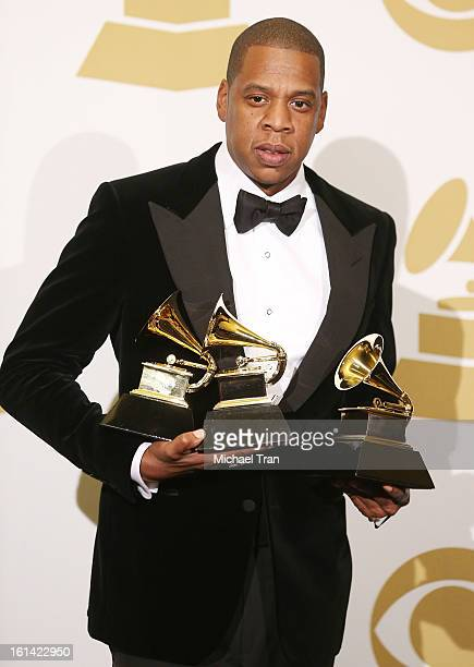 JayZ attends The 55th Annual GRAMMY Awards press room held at Staples Center on February 10 2013 in Los Angeles California