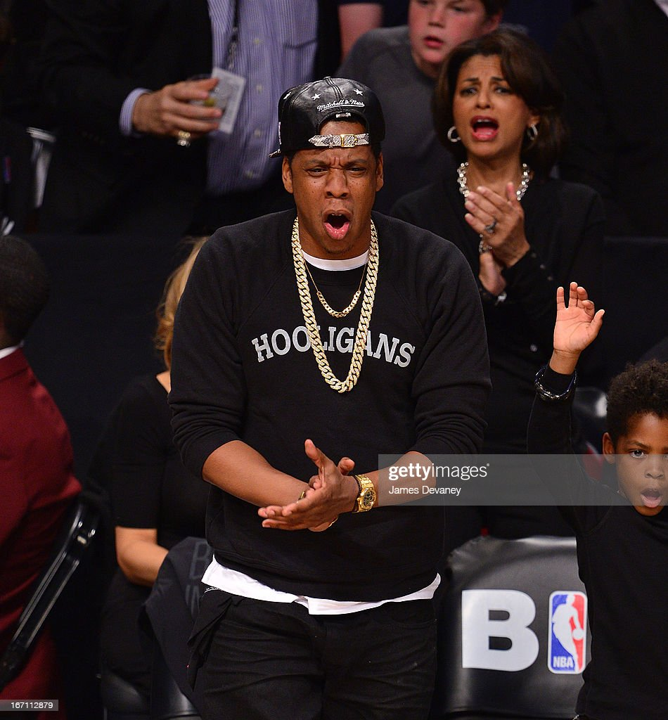 Jay-Z attends the Chicago Bulls Vs Brooklyn Nets Playoff Game at the Barclays Center on April 20, 2013 in the Brooklyn borough of New York City.