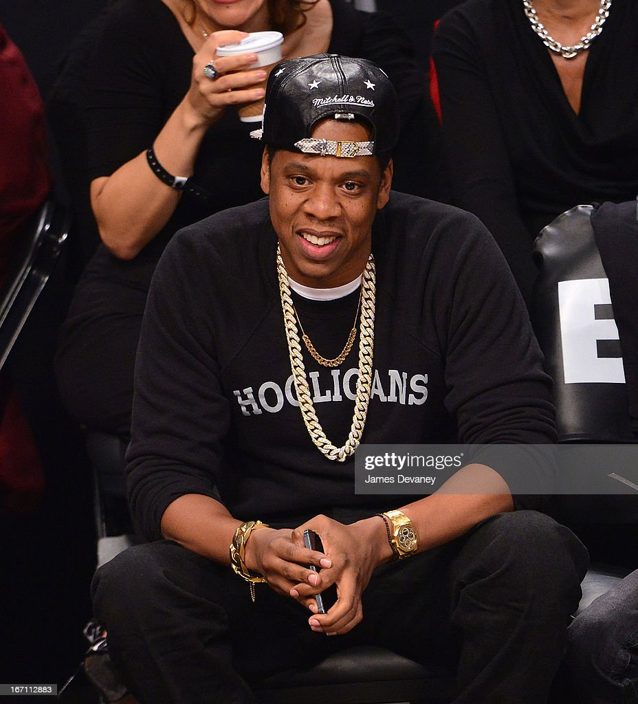 <a gi-track='captionPersonalityLinkClicked' href=/galleries/search?phrase=Jay-Z&family=editorial&specificpeople=201664 ng-click='$event.stopPropagation()'>Jay-Z</a> attends the Chicago Bulls Vs Brooklyn Nets Playoff Game at the Barclays Center on April 20, 2013 in the Brooklyn borough of New York City.