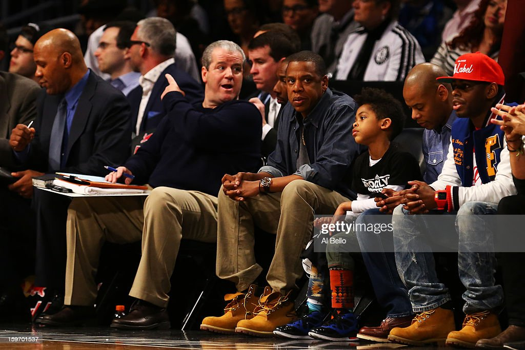 Jay-Z attends the game between the Brooklyn Nets and the Atlanta Hawks at Barclays Center on January 18, 2013 in the Brooklyn borough of New York City.