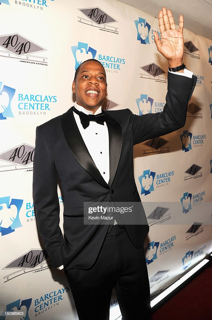 <a gi-track='captionPersonalityLinkClicked' href=/galleries/search?phrase=Jay-Z&family=editorial&specificpeople=201664 ng-click='$event.stopPropagation()'>Jay-Z</a> attends the grand opening of the 40/40 Club at Barclays Center on September 27, 2012 in the Brooklyn borough of New York City.