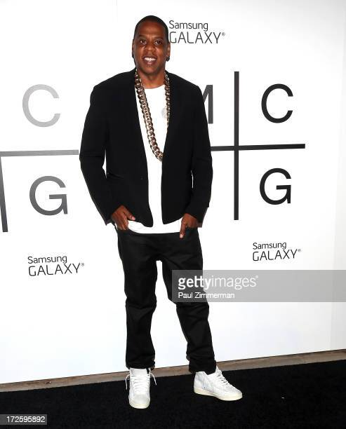 JayZ attends the 'Magna Carta Holy Grail' album release party at Pier 41 Liberty Warehouse on July 3 2013 in the Brooklyn borough of New York City