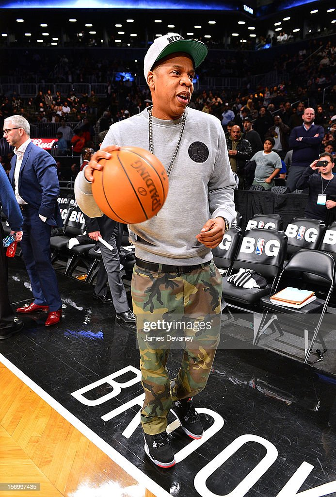 Jay-Z attends the New York Knicks v Brooklyn Nets game at Barclays Center on November 26, 2012 in the Brooklyn borough of New York City.