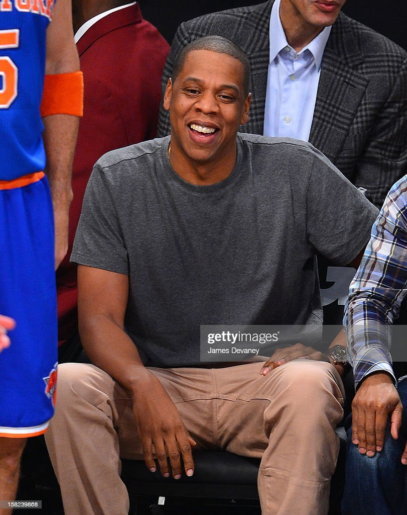 <a gi-track='captionPersonalityLinkClicked' href=/galleries/search?phrase=Jay-Z&family=editorial&specificpeople=201664 ng-click='$event.stopPropagation()'>Jay-Z</a> attends the New York Knicks vs Brooklyn Nets game at Barclays Center on December 11, 2012 in the Brooklyn borough of New York City.