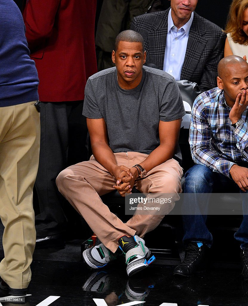 Jay-Z attends the New York Knicks vs Brooklyn Nets game at Barclays Center on December 11, 2012 in the Brooklyn borough of New York City.