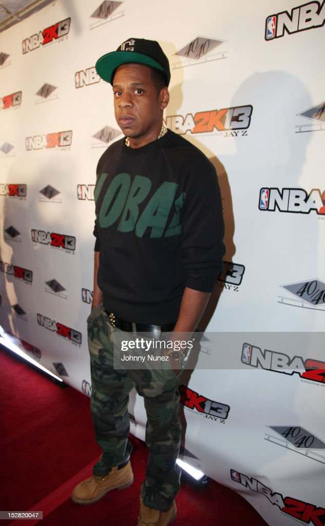 <a gi-track='captionPersonalityLinkClicked' href=/galleries/search?phrase=Jay-Z&family=editorial&specificpeople=201664 ng-click='$event.stopPropagation()'>Jay-Z</a> attends the Premiere Of NBA 2K13 With Cover Athletes And NBA Superstars at 40 / 40 Club on September 26, 2012 in New York City.