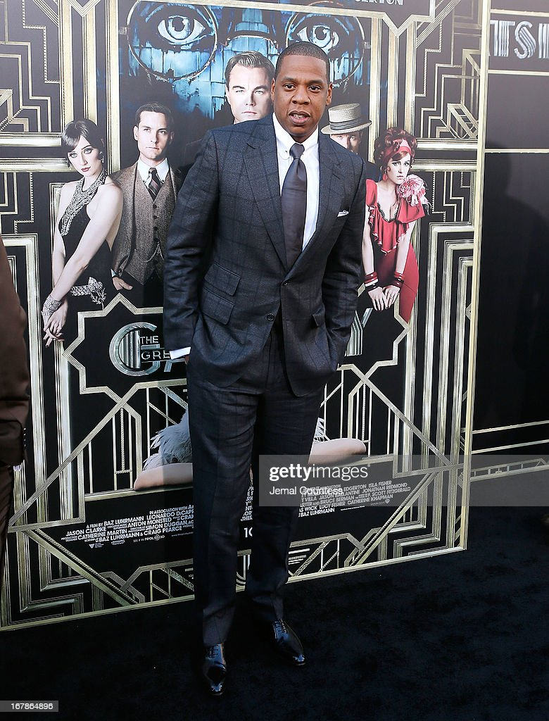<a gi-track='captionPersonalityLinkClicked' href=/galleries/search?phrase=Jay-Z&family=editorial&specificpeople=201664 ng-click='$event.stopPropagation()'>Jay-Z</a> attends the 'The Great Gatsby' world premiere at Avery Fisher Hall at Lincoln Center for the Performing Arts on May 1, 2013 in New York City.