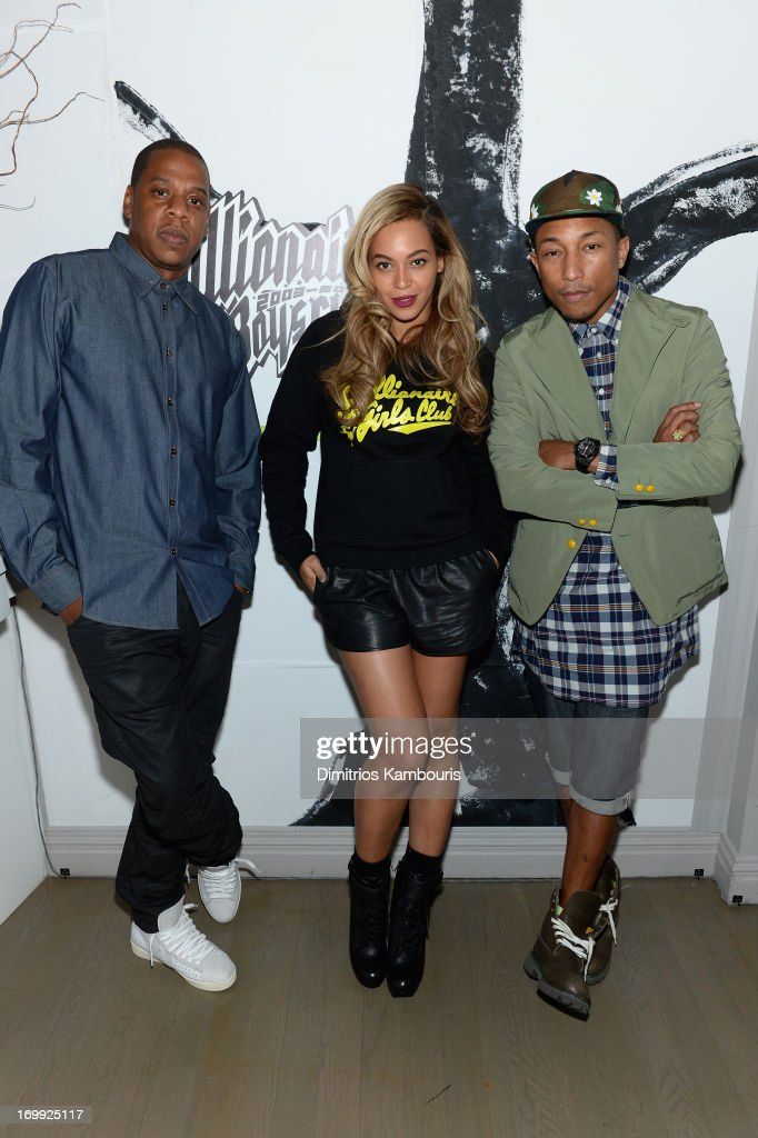 <a gi-track='captionPersonalityLinkClicked' href=/galleries/search?phrase=Jay-Z&family=editorial&specificpeople=201664 ng-click='$event.stopPropagation()'>Jay-Z</a>, Beyoncé and <a gi-track='captionPersonalityLinkClicked' href=/galleries/search?phrase=Pharrell+Williams&family=editorial&specificpeople=161396 ng-click='$event.stopPropagation()'>Pharrell Williams</a> attend the 10th anniversary party of Billionaire Boys Club presented by HTC at Tribeca Canvas on June 4, 2013 in New York City.