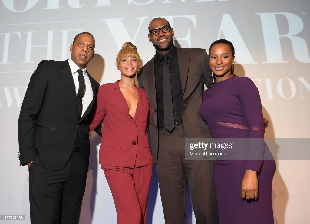 <a gi-track='captionPersonalityLinkClicked' href=/galleries/search?phrase=Jay-Z&family=editorial&specificpeople=201664 ng-click='$event.stopPropagation()'>Jay-Z</a>, Beyonce, 2012 Sportsman of the Year <a gi-track='captionPersonalityLinkClicked' href=/galleries/search?phrase=LeBron+James&family=editorial&specificpeople=201474 ng-click='$event.stopPropagation()'>LeBron James</a>, and Savannah attend the 2012 Sports Illustrated Sportsman of the Year award presentation at Espace on December 5, 2012 in New York City.