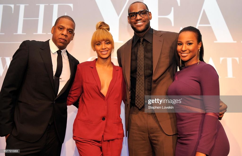 <a gi-track='captionPersonalityLinkClicked' href=/galleries/search?phrase=Jay-Z&family=editorial&specificpeople=201664 ng-click='$event.stopPropagation()'>Jay-Z</a>, Beyonce, 2012 Sportsman of the Year <a gi-track='captionPersonalityLinkClicked' href=/galleries/search?phrase=LeBron+James&family=editorial&specificpeople=201474 ng-click='$event.stopPropagation()'>LeBron James</a>, and <a gi-track='captionPersonalityLinkClicked' href=/galleries/search?phrase=Savannah+Brinson&family=editorial&specificpeople=4319994 ng-click='$event.stopPropagation()'>Savannah Brinson</a> attend the 2012 Sports Illustrated Sportsman of the Year award presentation at Espace on December 5, 2012 in New York City.