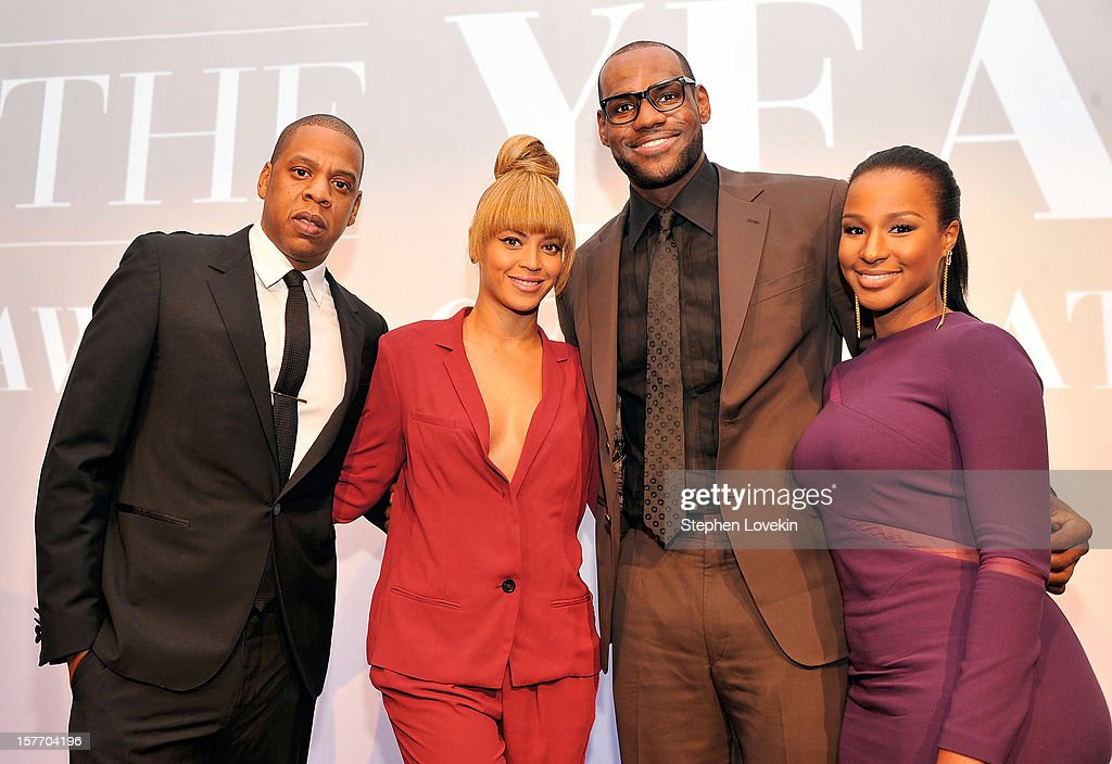 <a gi-track='captionPersonalityLinkClicked' href=/galleries/search?phrase=Jay-Z&family=editorial&specificpeople=201664 ng-click='$event.stopPropagation()'>Jay-Z</a>, Beyonce, 2012 Sportsman of the Year <a gi-track='captionPersonalityLinkClicked' href=/galleries/search?phrase=LeBron+James&family=editorial&specificpeople=201474 ng-click='$event.stopPropagation()'>LeBron James</a> and <a gi-track='captionPersonalityLinkClicked' href=/galleries/search?phrase=Savannah+Brinson&family=editorial&specificpeople=4319994 ng-click='$event.stopPropagation()'>Savannah Brinson</a> attend the 2012 Sports Illustrated Sportsman of the Year award presentation at Espace on December 5, 2012 in New York City.