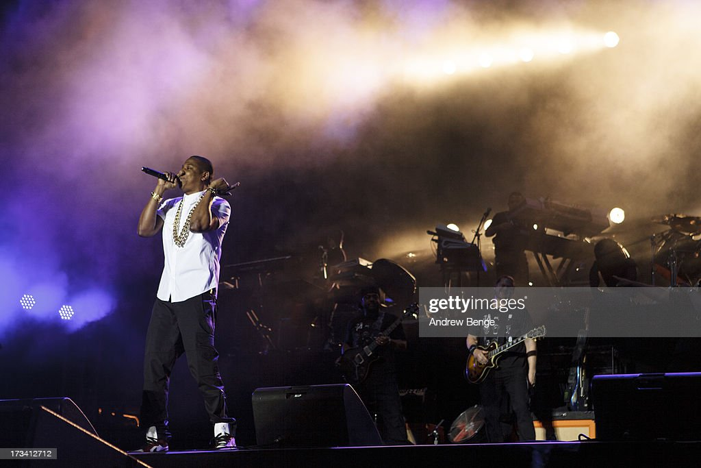 Jay-Z headlines on Day 2 of Yahoo Wireless Festival 2013 at Queen Elizabeth Olympic Park on July 13, 2013 in London, England.