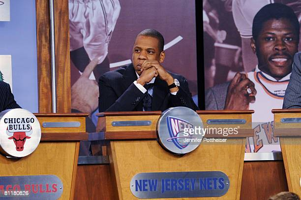 JayZ Investor and Minority Owner of the New Jersey Nets looks on during the 2008 NBA Draft Lottery at the NBATV Studios on May 20 2008 in Secaucus...