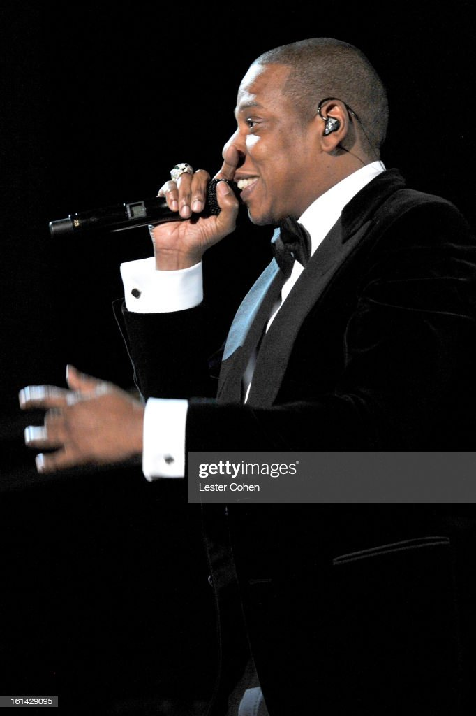 Jay-Z onstage during the 55th Annual GRAMMY Awards at STAPLES Center on February 10, 2013 in Los Angeles, California.