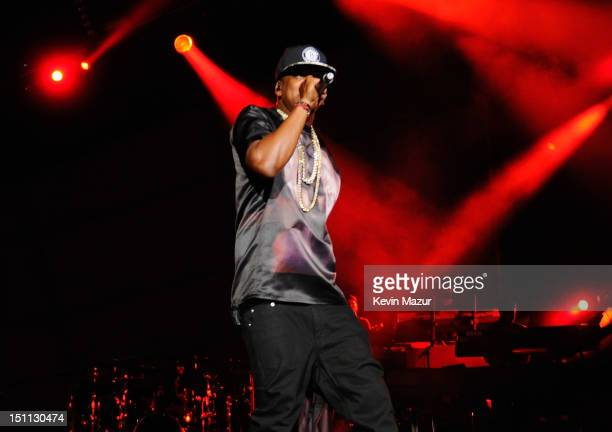 JayZ performs during the Budweiser Made In America Festival Benefiting The United Way Day 1 at Benjamin Franklin Parkway on September 1 2012 in...