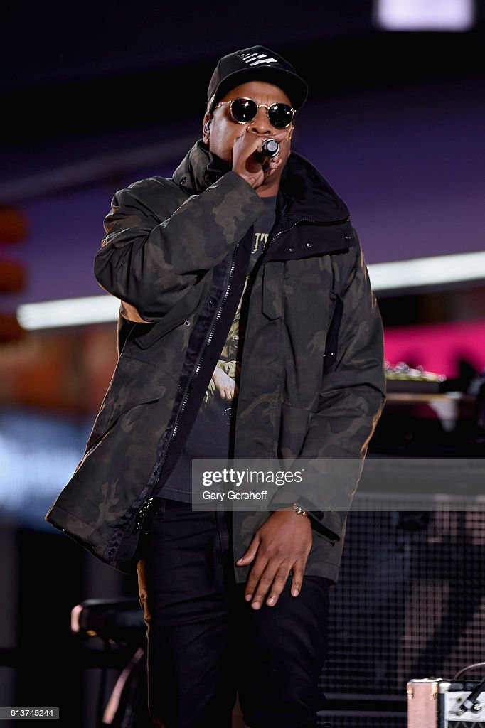 Jay-Z performs in Times Square on October 9, 2016 in New York City.