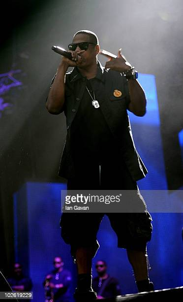 JayZ performs live on the Main Stage during Day 3 of the Wireless Festival in Hyde Park on July 4 2010 in London England