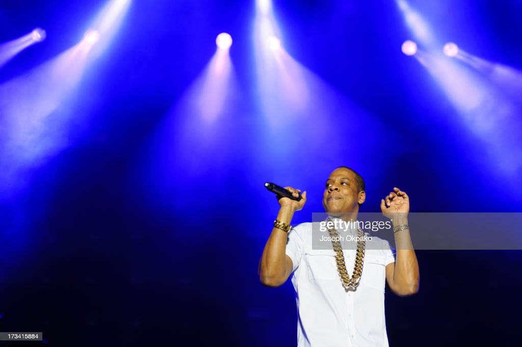 Jay-Z performs on day 2 of the Yahoo! Wireless Festival at Queen Elizabeth Olympic Park on July 13, 2013 in London, England.