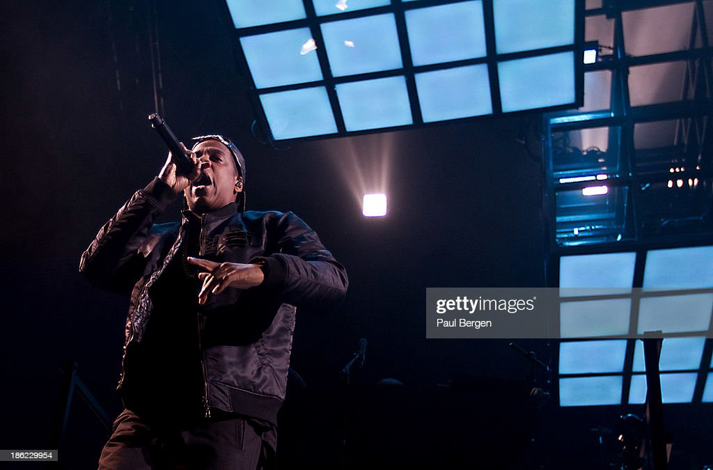 Jay-Z performs on stage at Ziggo Dome on October 29, 2013 in Amsterdam, Netherlands.