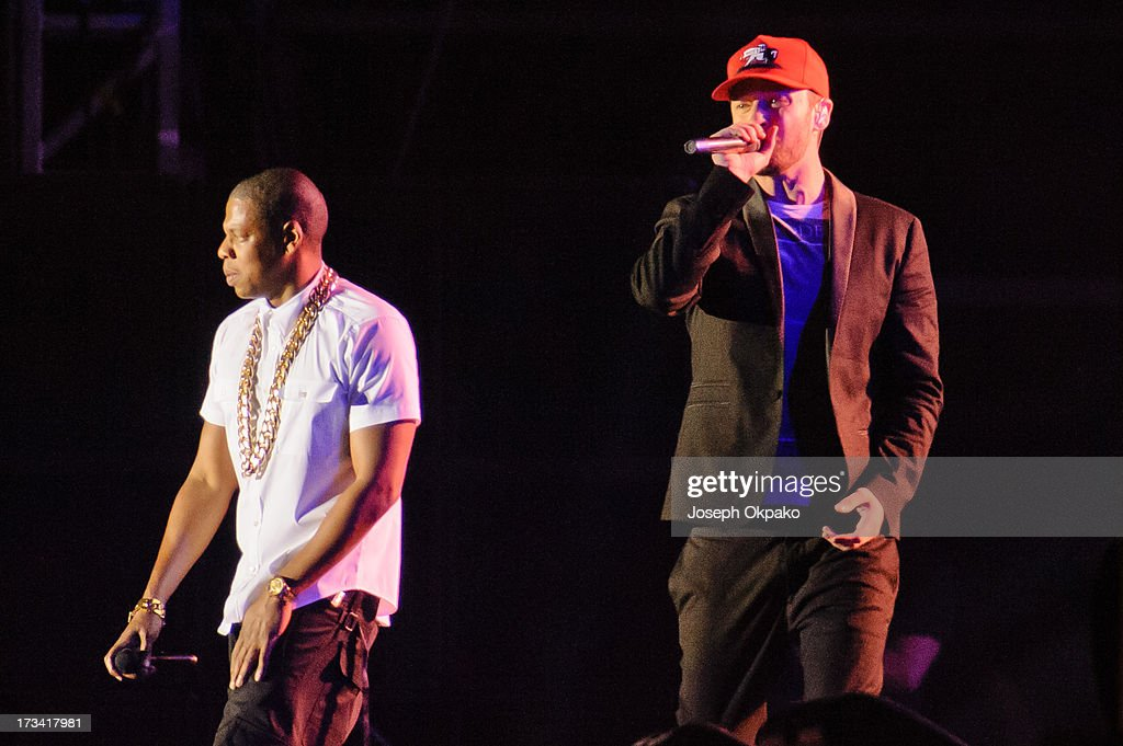 Jay-Z performs with guest appearance from Justin Timberlake on day 2 of the Yahoo! Wireless Festival at Queen Elizabeth Olympic Park on July 13, 2013 in London and England. .