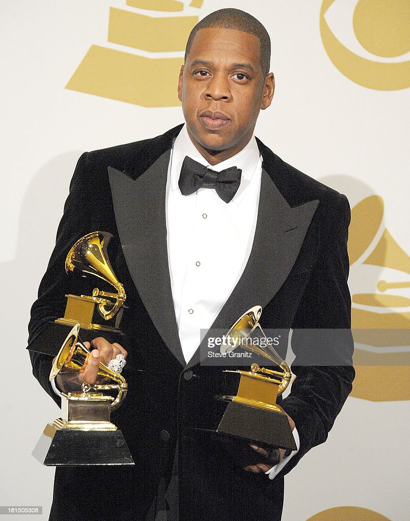 Jay-Z poses at the The 55th Annual GRAMMY Awards on February 10, 2013 in Los Angeles, California.