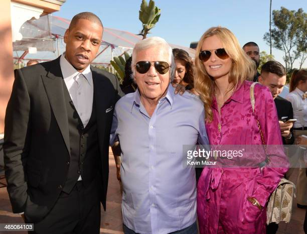 JayZ Robert Kraft and Ricki Noel Lander attend the Roc Nation PreGRAMMY Brunch presented by MAC Viva Glam at Private Residence on January 25 2014 in...