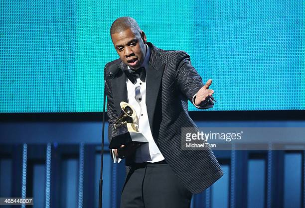 JayZ speaks onstage during the 56th GRAMMY Awards held at Staples Center on January 26 2014 in Los Angeles California