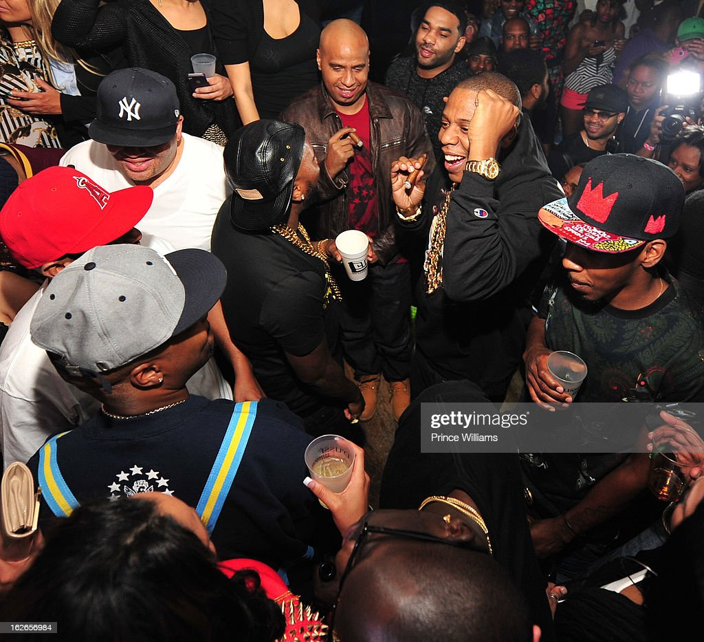Jay-Z, Young Jeezy, Ruggs and Memphis Bleek attend the So So Def anniversary party hosted by Jay Z at Compound on February 23, 2013 in Atlanta, Georgia.