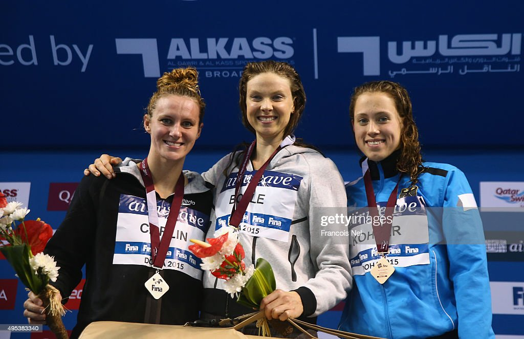 Jaz Carlin of New Zealand Lauren Boyle od New Zealand and Sarah Kohler of Germany celebrates on the podium after the Women's 800m Freestyle final...