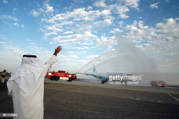 Jazeera Airways CEO Marwan Boodai waves at Kuwait International airport tarmac as he receives the second Airbus 320 of Jazeera Airways from Toulouse...