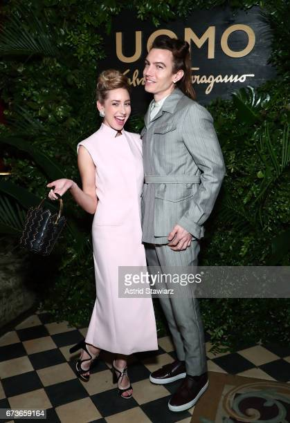 Jazmin Grace Grimaldi and Ian Mellencamp attend UOMO Salvatore Ferragamo celebration at Rose Bar at Gramercy Park Hotel on April 26 2017 in New York...