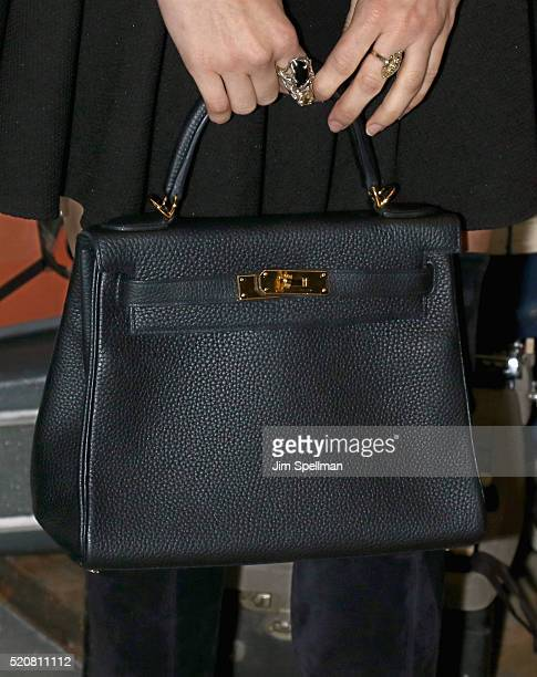 Jazmin Grace Grimaldi bag detail attends The Weinstein Company hosts the premiere of 'Sing Street' after party at Hotel Indigo on April 12 2016 in...