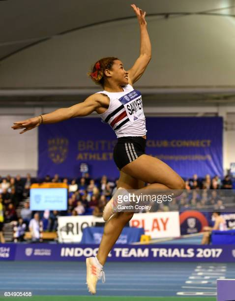 Jazmin Sawyers competes in the womens long jump during the British Athletics Indoor Team Trials 2017 at English Institute of Sport on February 12...