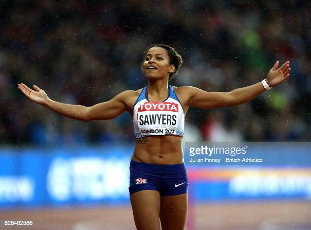 Jazmin Sawyers of Great Britain asks for encouragement from the crowd as she competes in the Women's Long Jump qualification during day six of the...